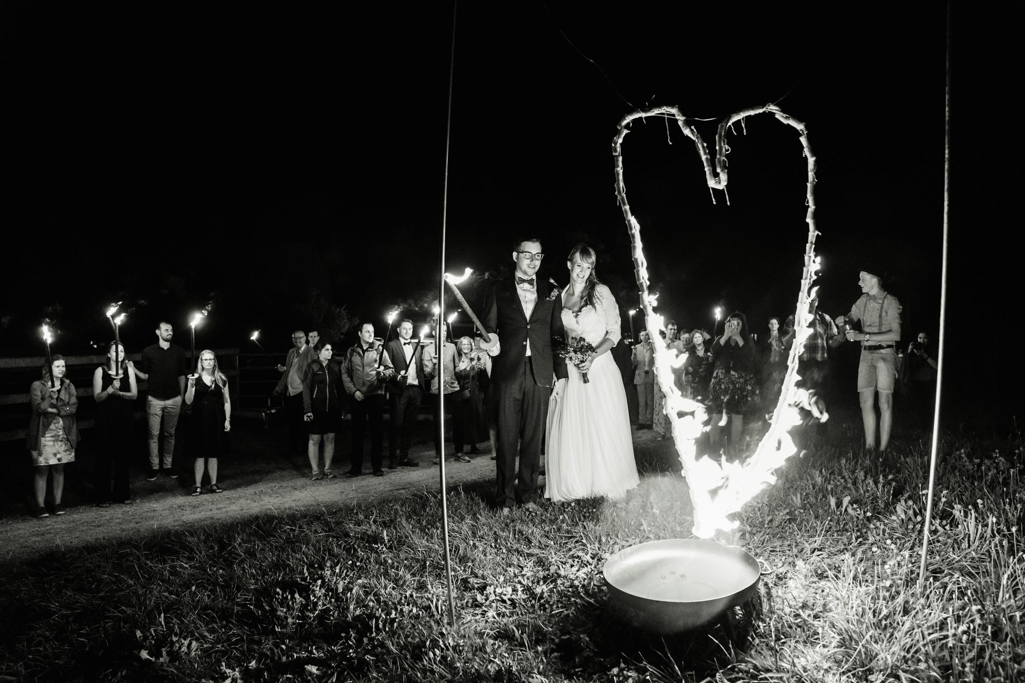 Feuershow für Brautpaar auf Gurten Bern